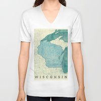 wisconsin V-neck T-shirts featuring Wisconsin State Map Blue Vintage by City Art Posters
