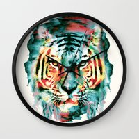 tiger Wall Clocks featuring TIGER by RIZA PEKER
