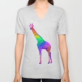 Psychedelic Rainbow Groovy Giraffe  Unisex V-Neck
