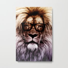 Lion Hipster art Metal Print