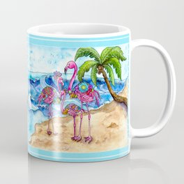 The Flamingo Family's Day at the Beach Coffee Mug