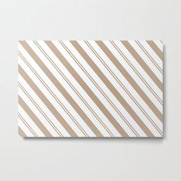 Pantone Hazelnut and White Stripes - Angled Lines Metal Print