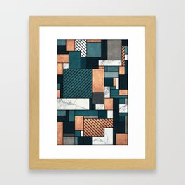 Random Pattern - Copper, Marble, and Blue Concrete Framed Art Print