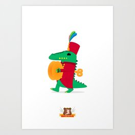 Tick-tock the Clockwork Croc Art Print