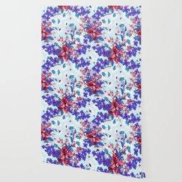Cool blue floral garland texture Wallpaper