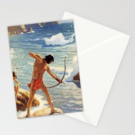 """N C Wyeth Painting """"The First Maine Fishermen"""" Stationery Cards"""