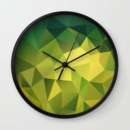 Abstract of triangles polygon in green yellow lime colors Wall Clock