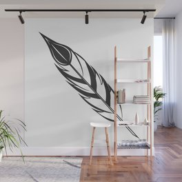 Vintage feather pen with ink on white background illustration in monochrome style Wall Mural