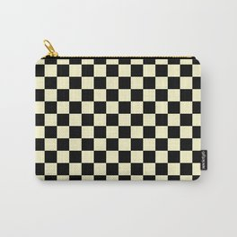 Black and Cream Yellow Checkerboard Carry-All Pouch