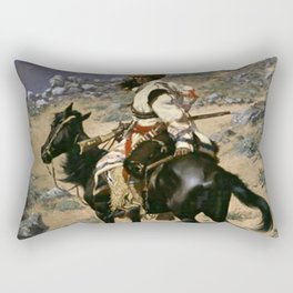 """Frederic Remington Western Art """"An Indian Trapper"""" Rectangular Pillow"""