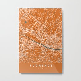 Florence Map | Italy | Orange & Green | More Colors, Review My Collections Metal Print