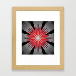 Red and Black Heart Mandala Framed Art Print