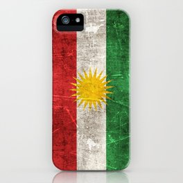 Vintage Aged and Scratched Kurdish Flag iPhone Case