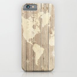 Design 143 Wood look World Map iPhone Case