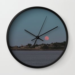 Full Strawberry Moon Rising over Rockport Wall Clock