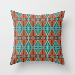 Orange Red Aqua Turquoise Teal Native Mosaic Pattern Throw Pillow