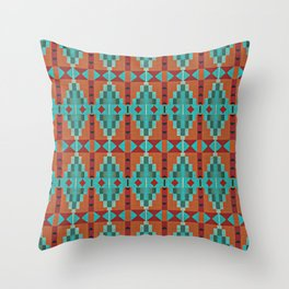 Orange Red Aqua Turquoise Teal Native Mosaic Pattern Throw Pillow