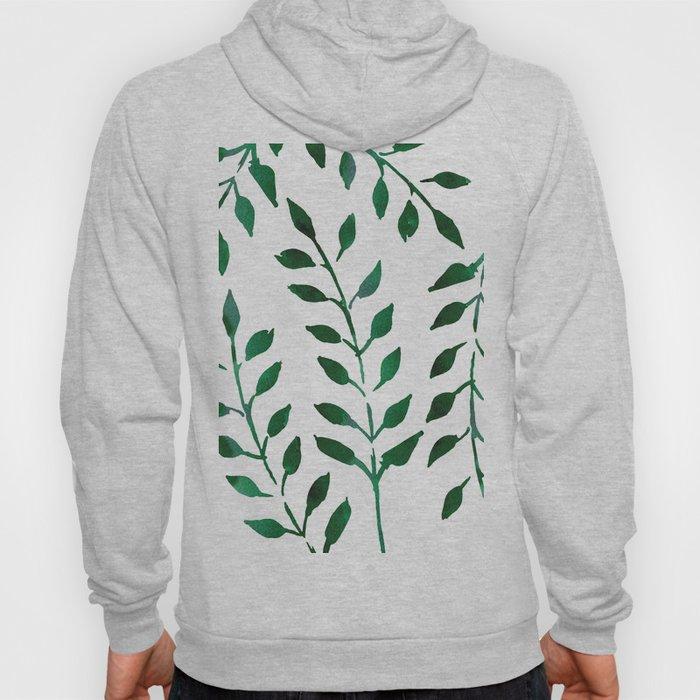 Minimalist Forest Green Leaves Watercolor Hoody