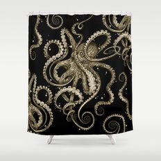 Octopsychedelia Sepia Shower Curtain