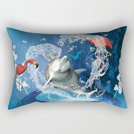 Dolphin jumping by a heart Rectangular Pillow
