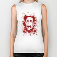 psycho Biker Tanks featuring American Psycho by David