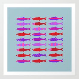 Colorful fish school pattern Art Print