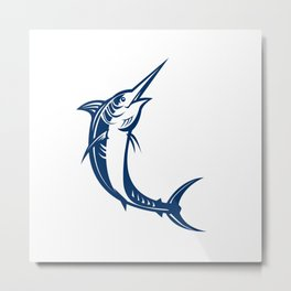 Blue Marlin Jumping Retro Metal Print