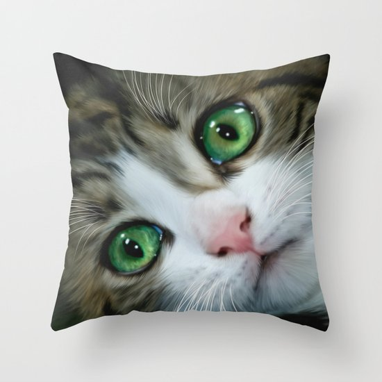 Kitty Throw Pillow : Kitty Cat Throw Pillow by Alice Gosling Society6