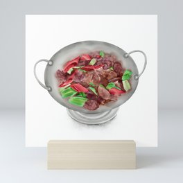 Watercolor Illustration of Chinese Cuisine - Shelduck in vinegar blood | 醋血鸭 Mini Art Print