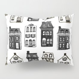 Mansard Mansions in Black + White Watercolor Pillow Sham