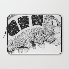 Studio Ghibli Cat Bus Black & White Zentangle Drawing Doodle Laptop Sleeve