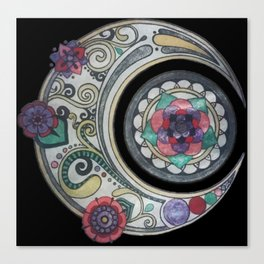 Spiral floral moon Canvas Print
