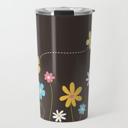 Funky Spring Flowers & Butterfly Travel Mug