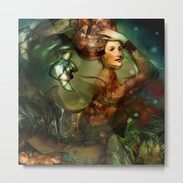 Caterpillar Girl Metal Print