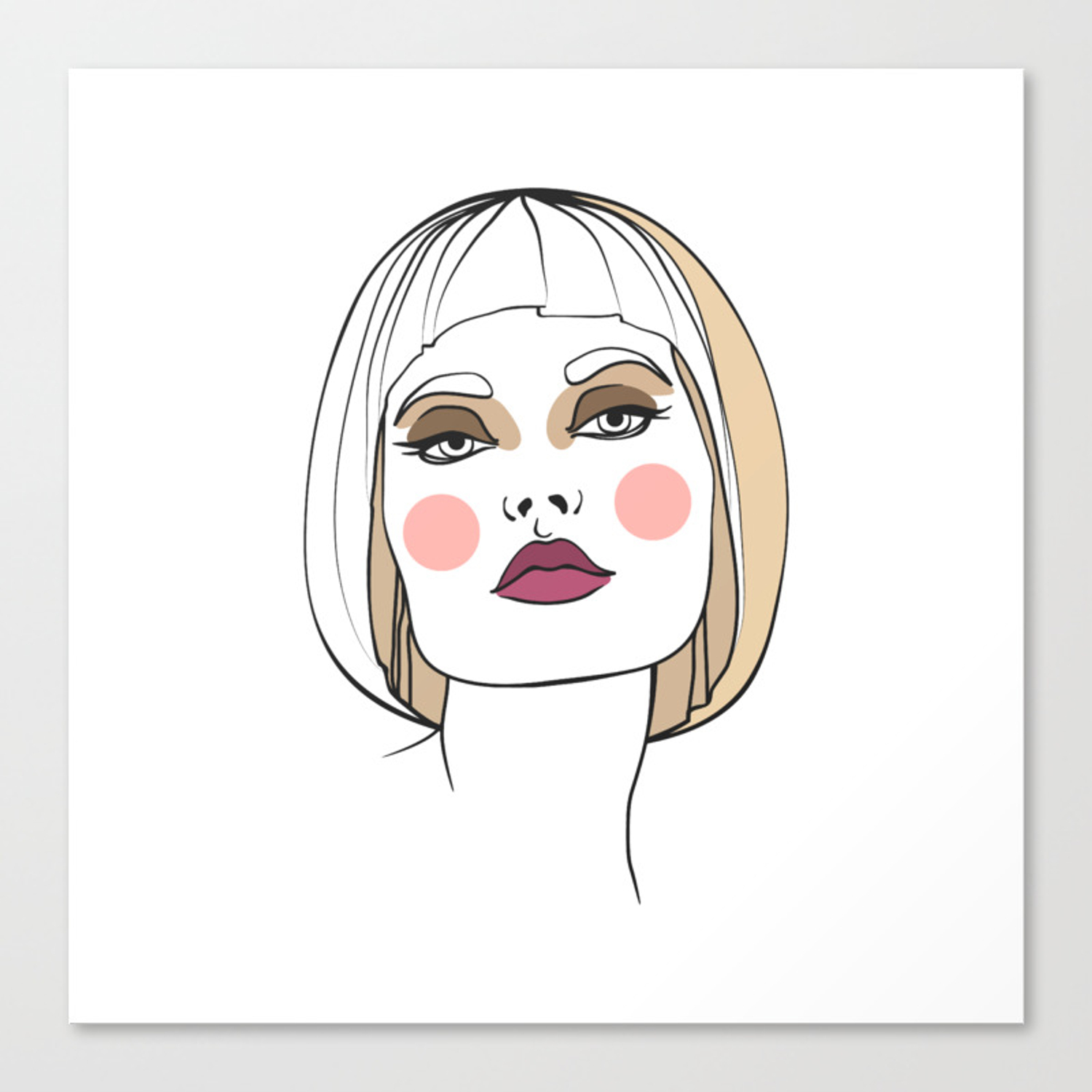 Abstract face fashion illustration canvas print