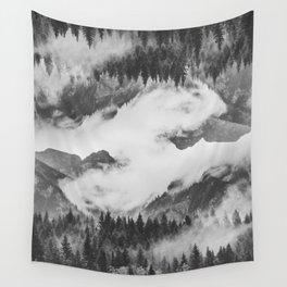 Misty Mountain II B&W Wall Tapestry