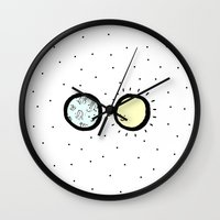 sun and moon Wall Clocks featuring Moon & Sun by itishazel