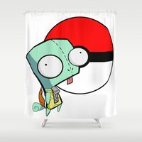 squirtle Shower Curtains featuring GIR Squirtle  by Diffro