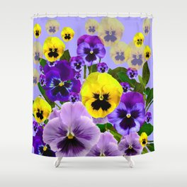 SPRING PURPLE & YELLOW PANSY FLOWERS Shower Curtain