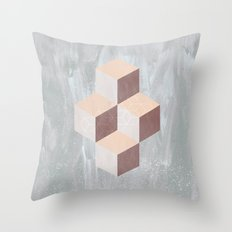 four cubes sixteen diamonds Throw Pillow