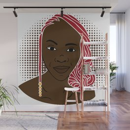 Girl with red dreadlocks. Wall Mural