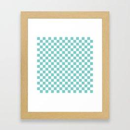 Aqua Checkerboard Pattern Framed Art Print