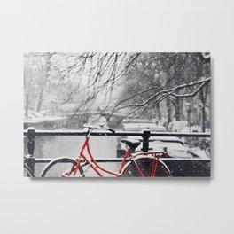 Red Bike in the Snow Metal Print