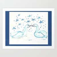 Blue and White Swan Watercolor Art Print