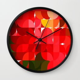 Mottled Red Poinsettia 1 Ephemeral Abstract Circles 1 Wall Clock
