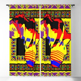 Painted Africa with Tribal Pattern - Yellow - #1 Blackout Curtain
