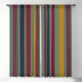 Fall Jewel Tone Stripes Blackout Curtain