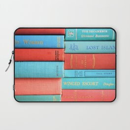 Pink and Aqua Book Stack Laptop Sleeve