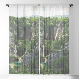 veliki slap waterfall 1 plitvice lakes national park croatia std Sheer Curtain