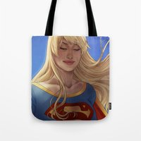 supergirl Tote Bags featuring Supergirl by maltairs